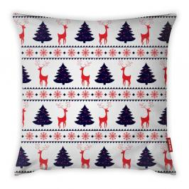 Povlak na polštář Vitaus Christmas Period Tree And Deer Pattern, 43 x 43 cm